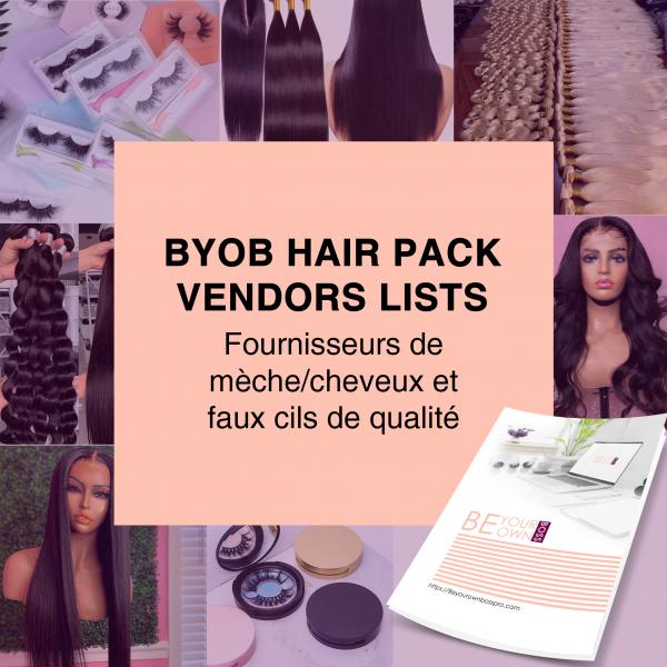 BYOB-HAIR PACK VENDORS LISTS